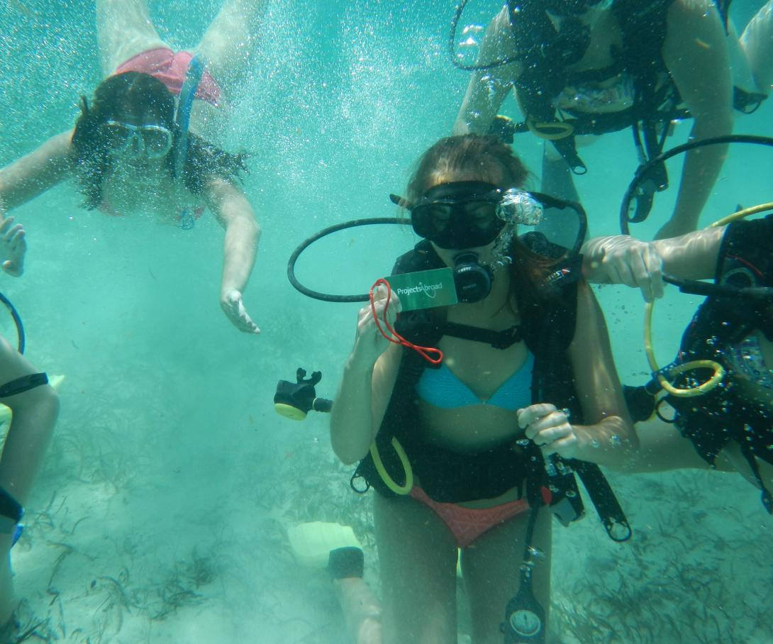 Projects Abroad volunteers learn how to dive during a Conservation Project in Belize.
